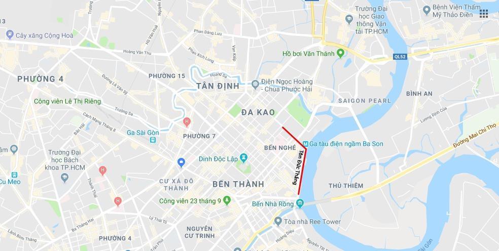 Ví trí đường Tôn Đức Thắng. Ảnh. Google Maps.