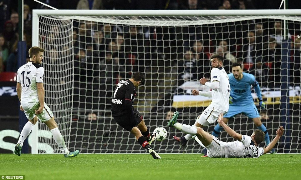 Doi cua Chicharito thang Tottenham o Champions League hinh anh 7