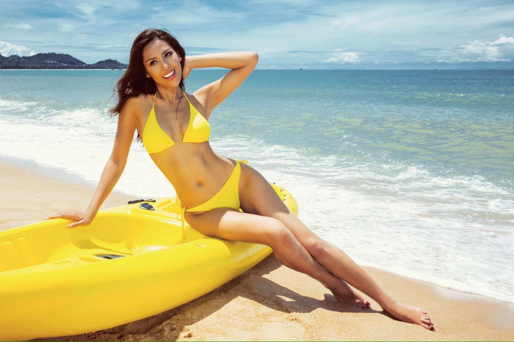 Nguyen Thi Loan dien bikini anh 1