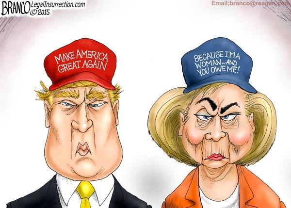 Man doi dau giua Trump va Clinton qua tranh biem hoa hinh anh 1
