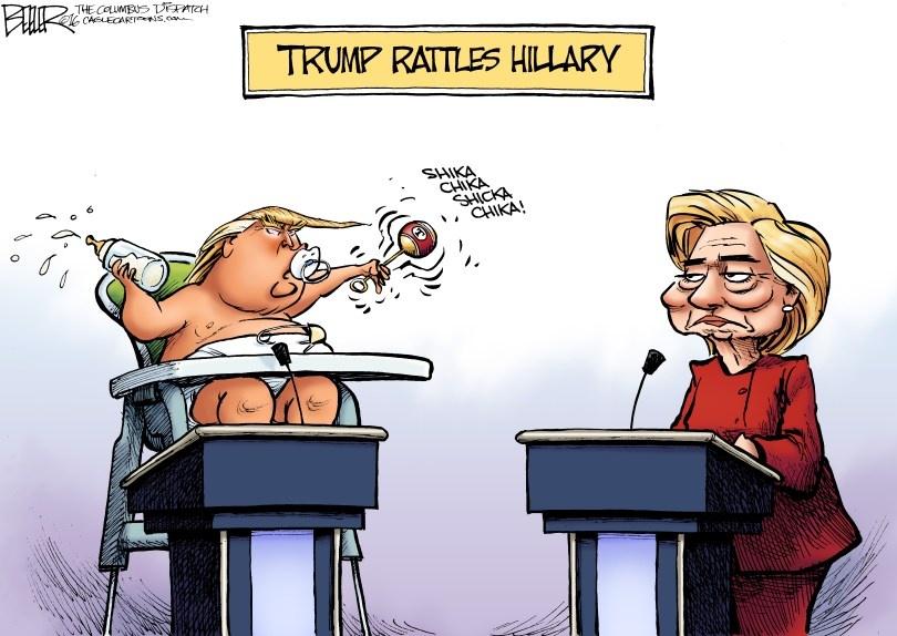 Man doi dau giua Trump va Clinton qua tranh biem hoa hinh anh 2