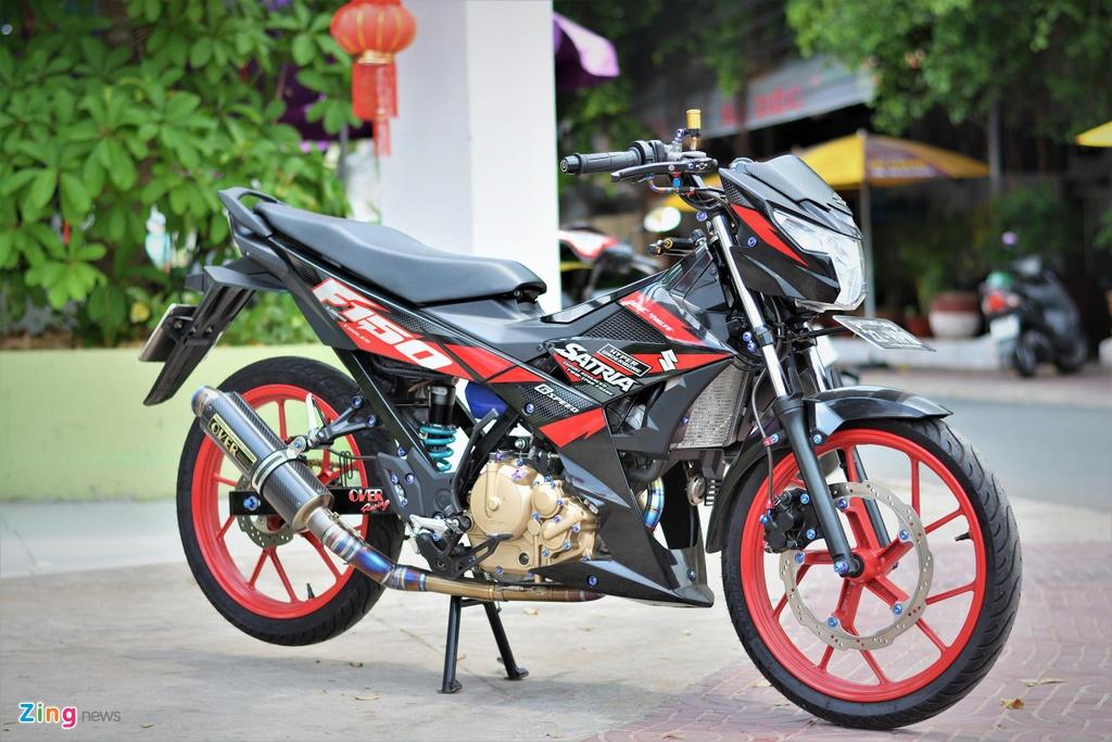 Suzuki Raider do do choi hang hieu ton 100 trieu cua biker mien Tay hinh anh 1