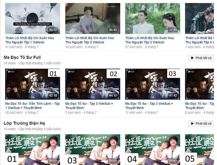 Video vi phạm bản quyền phim nước ngoài tràn lan trên Facebook.