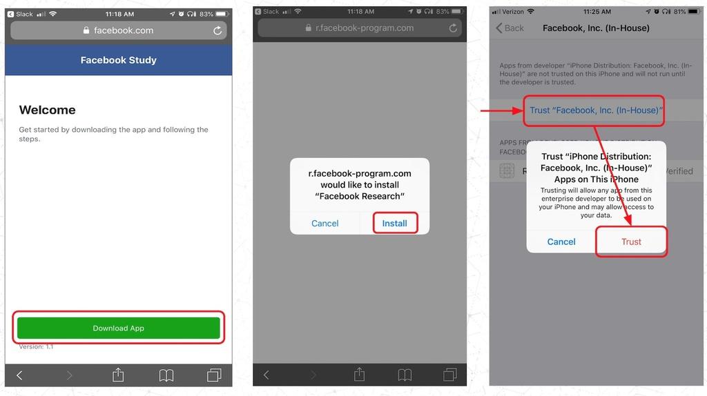 """Facebook đòi người dùng phải """"tin tưởng"""" khi cài đặt phần mềm khảo sát. Ảnh: Tech Crunch."""