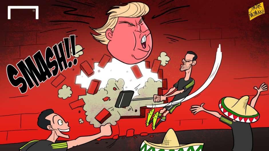 Hi hoa cau thu Mexico dap vo 'buc tuong' Donald Trump hinh anh 1