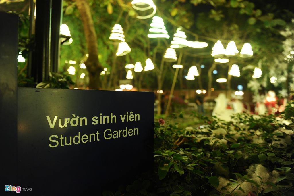 Khu vuon Noel dep long lay cua sinh vien Thang Long hinh anh 1 Gần một tháng nay, khu vườn sinh viên của Trường Đại học Thăng Long (Hà Nội) được trang hoàng bằng những cây thông, xe tuần lộc và đặc biệt là những dàn đèn sáng lung linh.