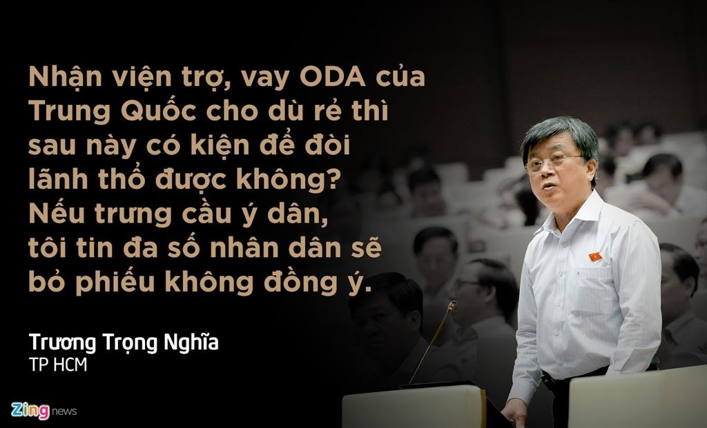 Lo lắng trước tình hình Biển Đông, trong chất vấn gửi tới Thủ tướng, đại biểu Trương Trọng Nghĩa đề nghị không nhận viện trợ và vay tiền từ Trung Quốc. (Xem chi tiết)