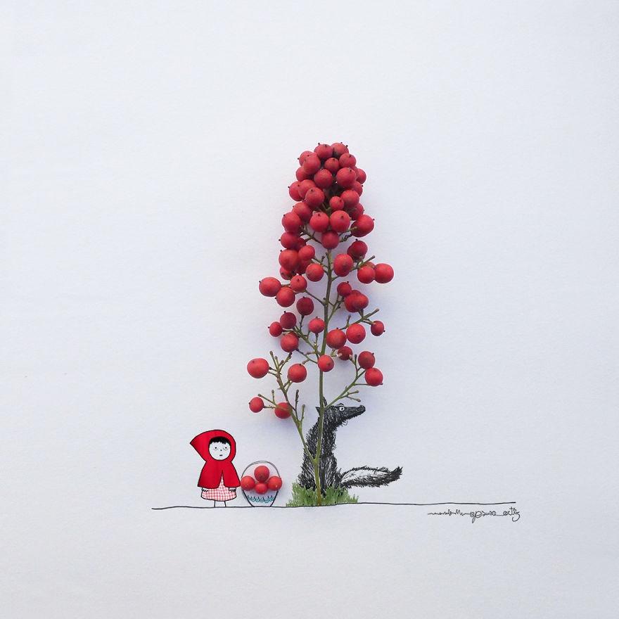 Chang trai ve tranh ti hon voi canh hoa va trai cay hinh anh 1