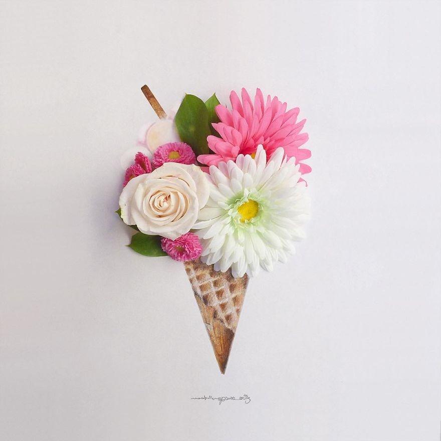 Chang trai ve tranh ti hon voi canh hoa va trai cay hinh anh 5