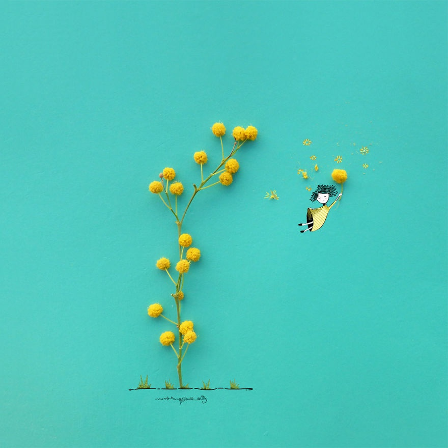 Chang trai ve tranh ti hon voi canh hoa va trai cay hinh anh 7