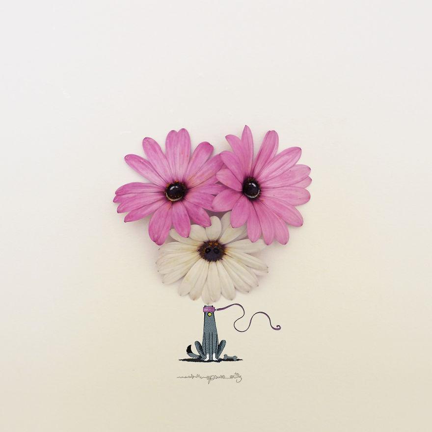 Chang trai ve tranh ti hon voi canh hoa va trai cay hinh anh 9