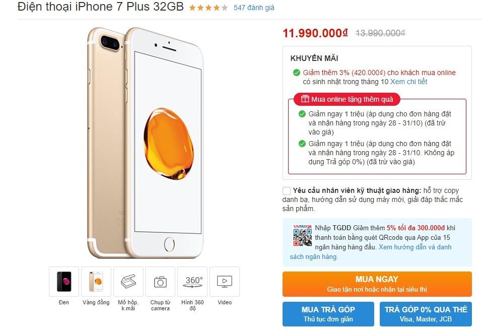 giá iPhone 7 Plus tại Việt Nam