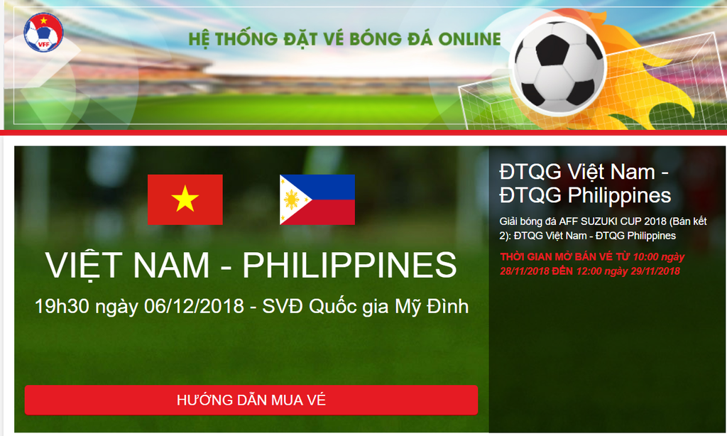 ban ve online,  ban ket AFF Cup 2018,  VFF,  doi tuyen Viet Nam,  AFF Cup 2018 anh 3