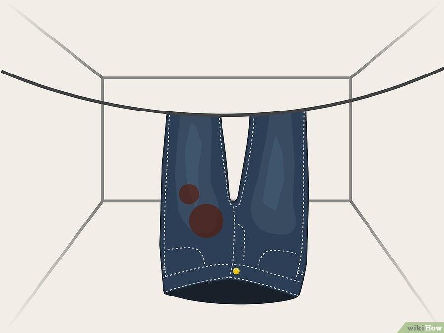 Nguyên Tắc Phơi Quần Jeans Là Phơi Ngược Phần Thắt Lưng Và Miệng Xuống Dưới  Để Đồ Mau Khô. Ảnh: Wiki How.