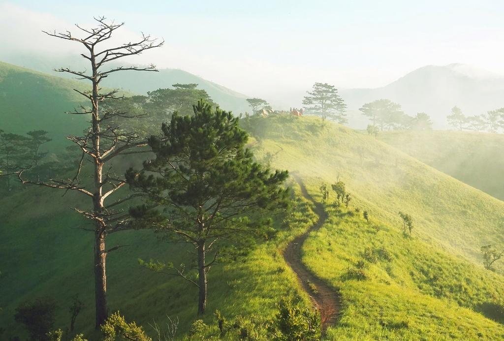 Ngày mới được đánh thức bằng tiếng chim hót véo von. Cánh cửa lều mở, những đồi cỏ xanh rì nối tiếp nhau dài vô tận, kết nối nhau bởi con đường mòn.