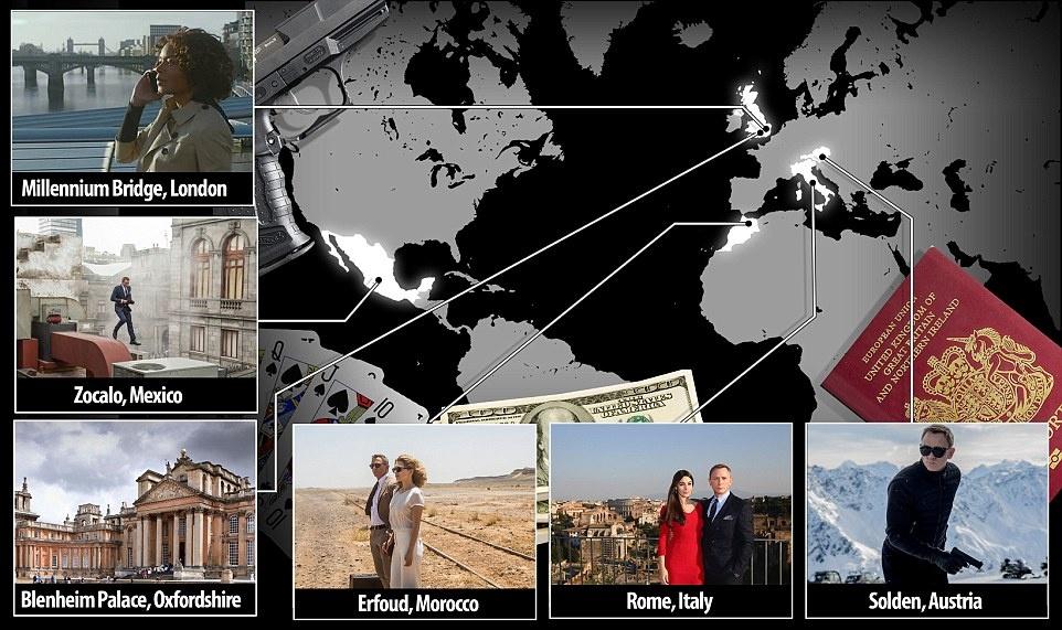 """Trong """"Spectre"""", Daniel Craig trong vai điệp viên 007 sẽ có những pha hành động ngoạn mục trên phông nền tuyệt đẹp tại các điểm du lịch nổi tiếng của Áo, Mexico, Italy, Morocco và London, Anh."""