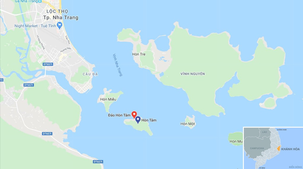 Xay cong trinh khong phep o dao Hon Tam, lan danh thang vinh Nha Trang hinh anh 11 map_KhanhHoa_anbinh.JPG