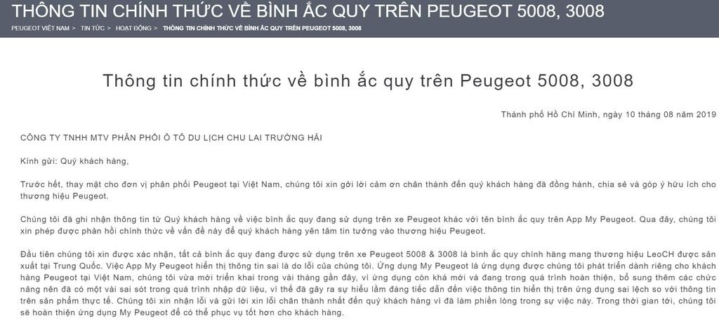 Phản hồi chính thức từ Thaco (ảnh chụp màn hình).