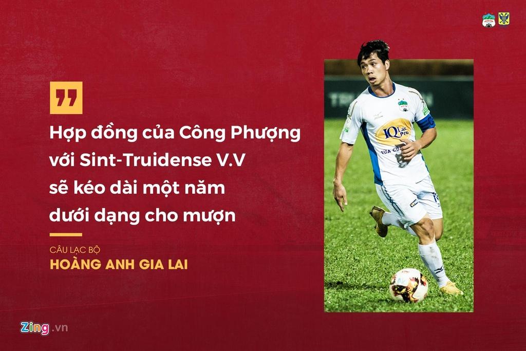 Sau khi tờ báo Nhật Bản đưa tin, Zing.vn đã liên hệ với HAGL và nhận được lời khẳng định chính thức. Hợp đồng của Công Phượng sang Bỉ thi đấu sẽ kéo dài một năm theo dạng cho mượn với điểm đến là CLB Sint-Truidense V.V ở giải đấu số một quốc gia.