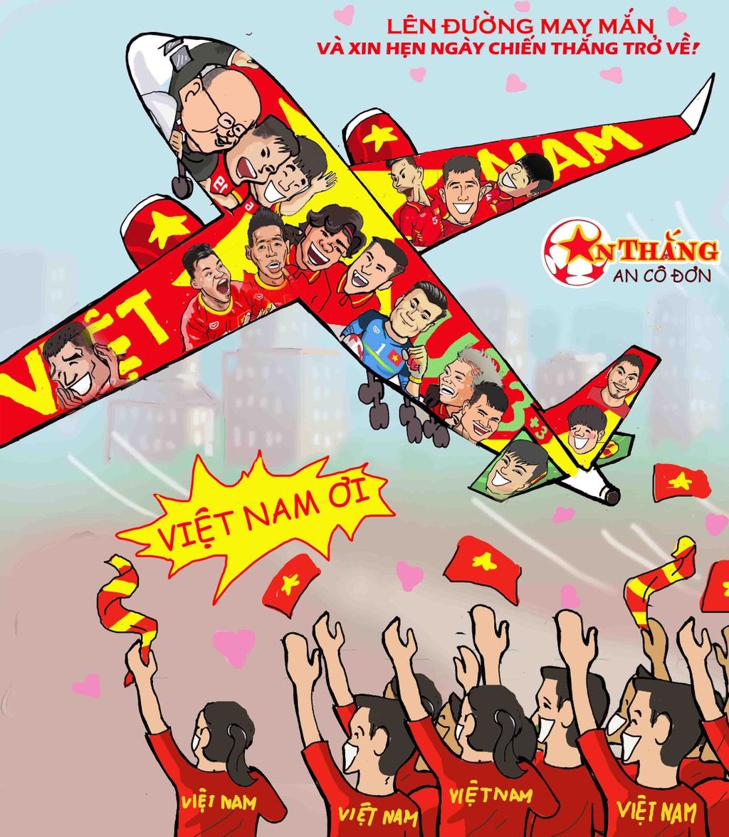 Hi hoa Park Hang-seo cheo con thuyen Olympic Viet Nam ra bien lon hinh anh 1