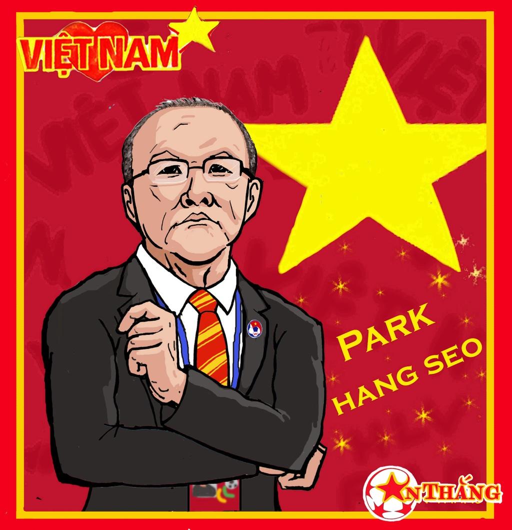Hi hoa Park Hang-seo cheo con thuyen Olympic Viet Nam ra bien lon hinh anh 8