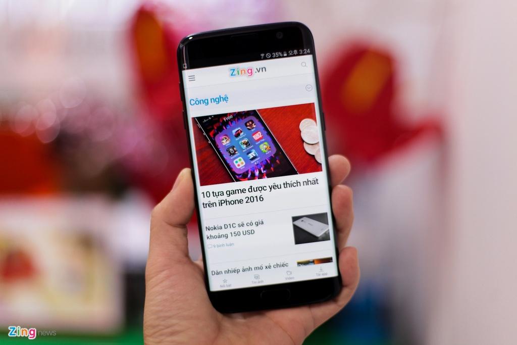 Anh Samsung Galaxy S7 edge mau den bong dau tien tai VN hinh anh 13