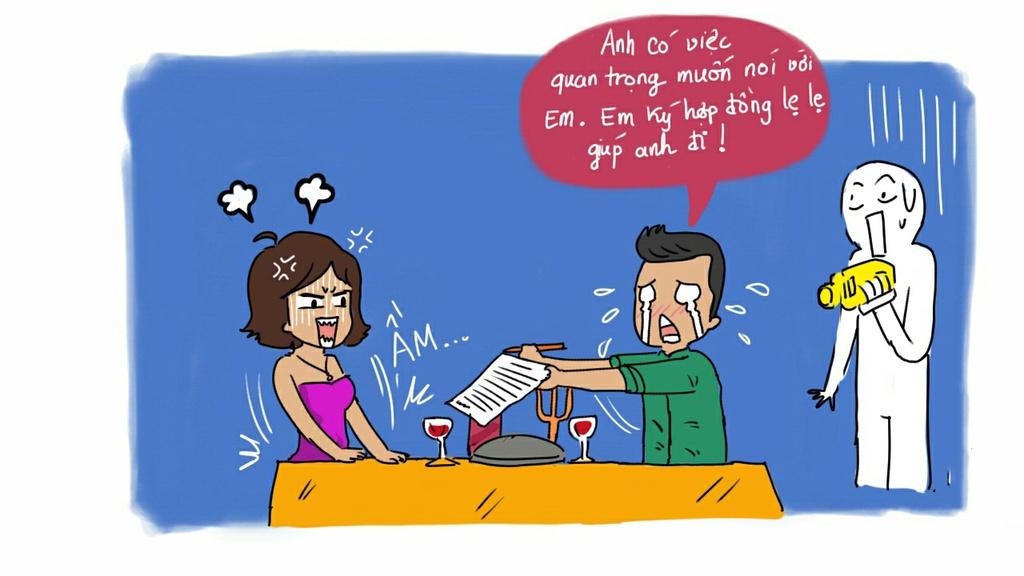 Cũng giống như khi đối tác hẹn em đi ăn ở ăn nhà hàng lãng mạn, thật ra chỉ vì… muốn chốt hợp đồng thật nhanh. Đơn giản vậy thôi. Nên về sau em đừng xốn xang mỗi lần nhận lời một cuộc hẹn ăn tối nữa.