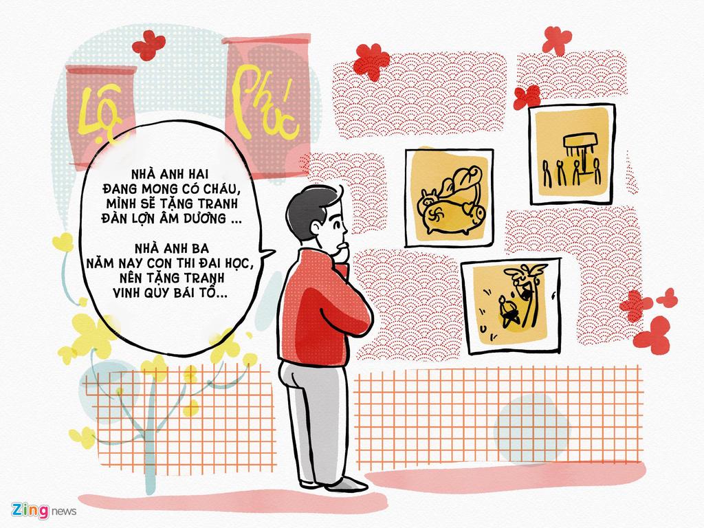 """Từ xưa, tục chơi tranh đã được nhắc tới là một trong bốn thú chơi tao nhã của người Việt: """"Nhất chữ, nhì tranh, tam sành, tứ mộc"""". Thế nên mỗi dịp Tết đến xuân về, người ta lại háo hức tìm mua tranh đẹp về bài trí, biếu tặng nhau. Ngày nay, ngoài tranh, người Việt còn tặng nhau những món đồ mang ý nghĩa phong thủy, may mắn nữa như tượng ông thần tài, đá phong thủy. Nhưng dù là món quà nào, những vật bài trí ấy không đơn thuần mang lại vẻ đẹp cho ngôi nhà, mà còn gửi gắm ước mong tài lộc, may mắn trong năm mới."""