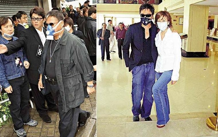 Làng giải trí Hong Kong hoang lạnh vì đại dịch SARS. Khẩu trang trở thành vật bất ly thân của nhiều nghệ sĩ.