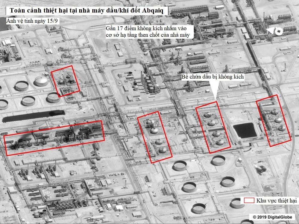 Ảnh chụp vệ tinh do chính phủ Mỹ công bố cho thấy thiệt hại nặng nề tại nhà máy Abqaiq. Ảnh: AP.