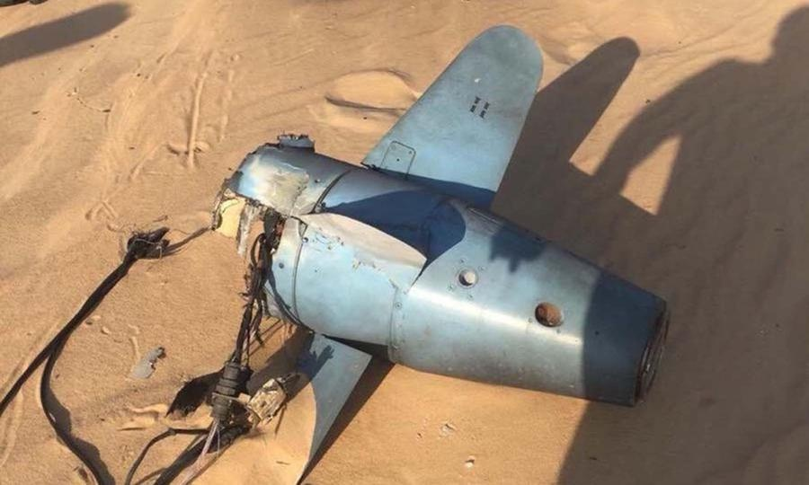 Vũ khí tấn công mỏ dầu của Saudi Arabia được cho là những chiếc máy bay không người lái hiệu Quds-1. Đây là phần đuôi của mẫu này. Ảnh: Twitter.