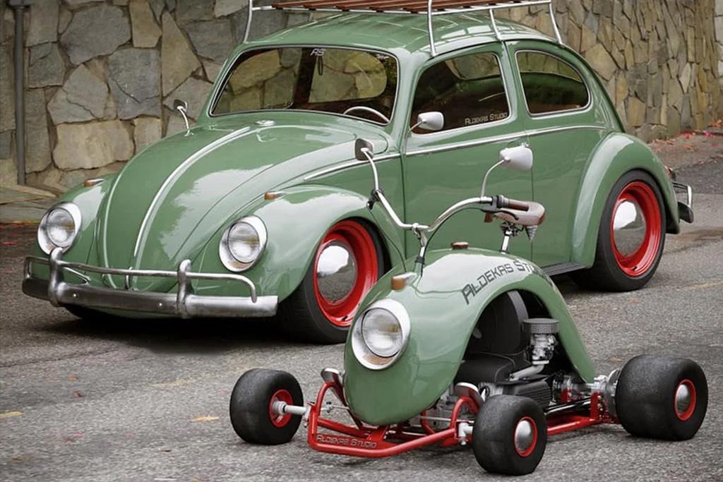 Xe 4 banh lam tu tam chan bun cua Volkswagen Beetle anh 1