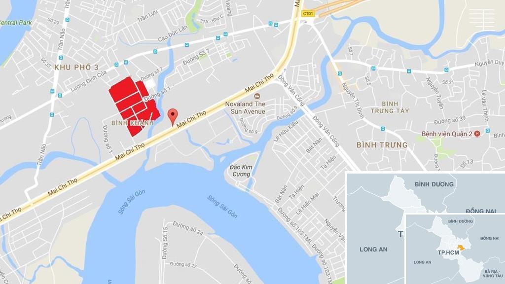 Vị trí khu tái định cư Bình Khánh. Ảnh: Google Maps.