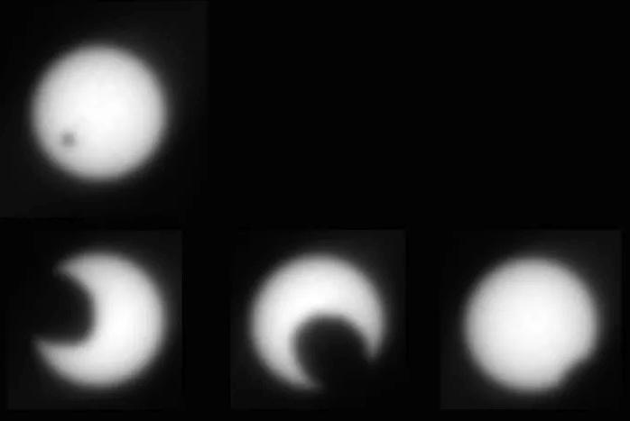 """Rất nhiều bức ảnh được Opportunity gửi về cho chúng ta thấy những đặc điểm địa chất trên sao Hỏa. Nó thậm chí từng phát hiện """"nhật thực phiên bản sao Hỏa"""" khi """"mặt trăng"""" của sao Hỏa có tên Deimos và Phobos cùng đi ngang qua mặt trời. Ảnh: NASA."""