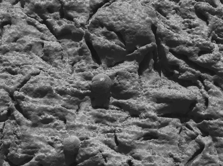 Những hạt nhỏ này là bằng chứng cho thấy sao Hỏa từng có nước chảy trên bề mặt. Ảnh: NASA.