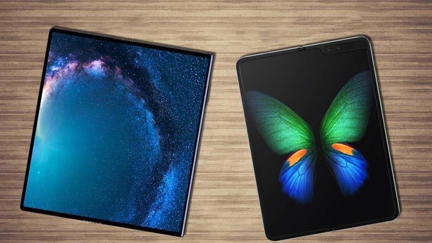Đặt Galaxy Fold và Huawei Mate X cạnh nhau. Ảnh: Samsung Galaxy Leaks.