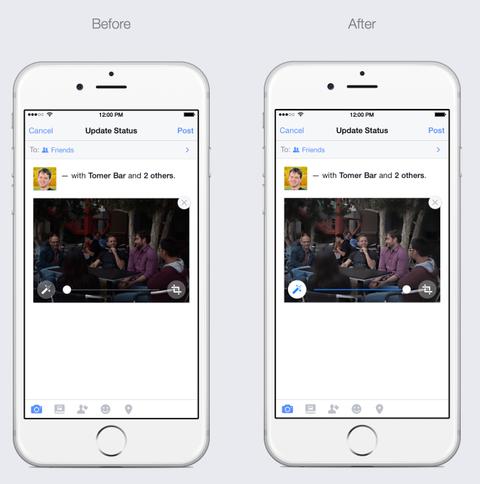 Facebook tren iPhone them tinh nang tu dong lam dep anh hinh anh
