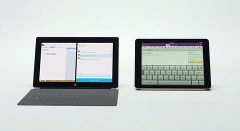 Quang cao so sanh kha nang chay da nhiem cua Surface va iPad Air hinh anh