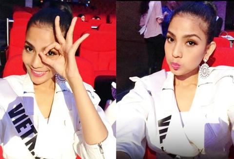 Truong Thi May khoe anh 'xi tin' o hau truong Miss Universe hinh anh