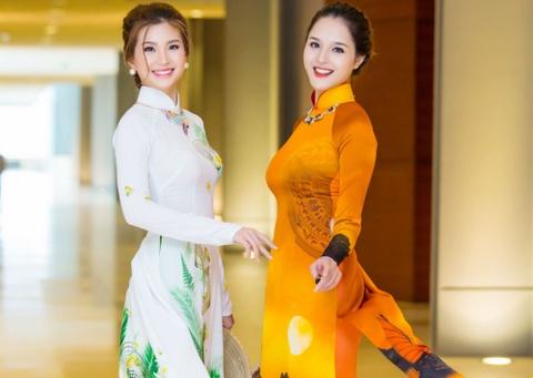 A hau Hoang Anh, Diem Trang do sac trong ta ao dai hinh anh