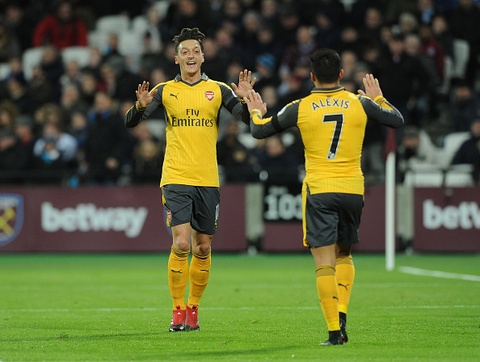 Lam kho Arsenal, Oezil va Sanchez doi luong bang Pogba hinh anh