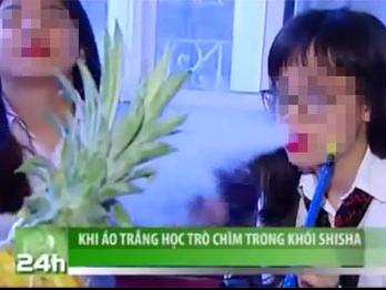 Khong ky luat nhom hoc sinh hut shisha tren VTC14 hinh anh