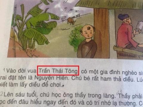 Sach giao khoa nham lan doi vua Tran Nhan Tong va Tran Thai Tong hinh anh