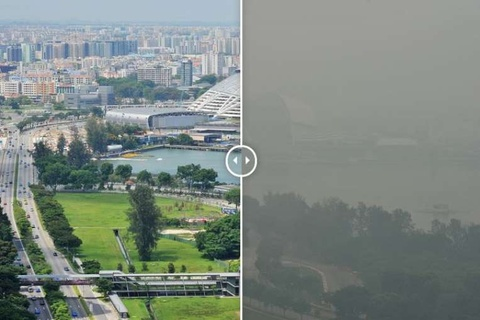 Singapore truoc va sau khi chim trong khoi mu hinh anh