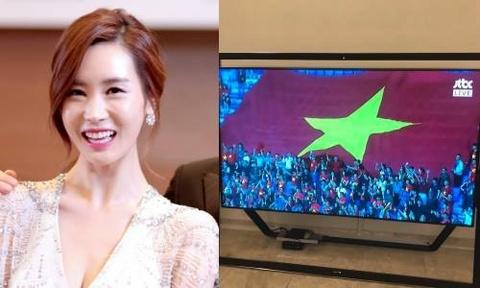 Diễn viên Lee Da Hae 'đau tim' khi xem trận Việt Nam đá với Jordan
