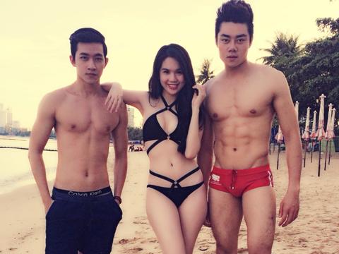 Ngoc Trinh dien bikini boc lua tren bien Thai Lan hinh anh
