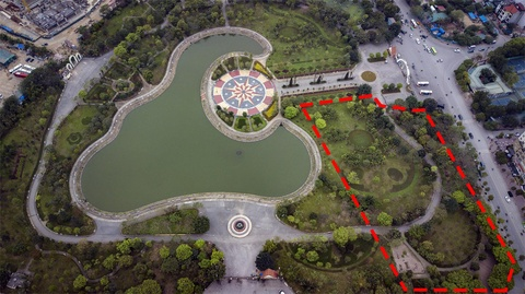 Map mo viec xin y kien dan xen dat cong vien Cau Giay lam bai do xe hinh anh 1