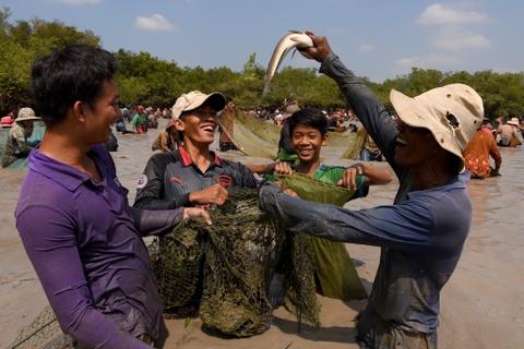 Nguoi Campuchia lan hup duoi ho, bat ca 'thu cong' tai le hoi dau nam hinh anh 3
