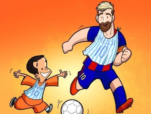 Biem hoa Messi dien dong phuc nylon nhu cau be hinh anh