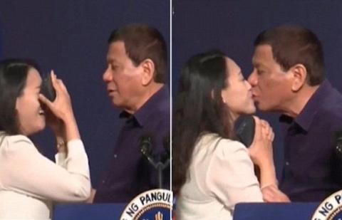 Nu hon gay tranh cai cua ong Duterte voi mot phu nu Philippines hinh anh